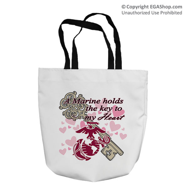 Tote Bag: A Marine Holds the Key to My Heart