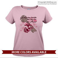 _T-Shirt (Ladies): A Marine holds the key to my Heart