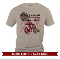 _T-Shirt (Unisex): A Marine holds the key to my Heart