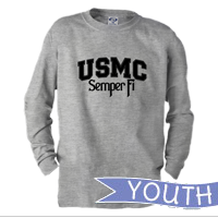 _Youth Long Sleeve Shirt: USMC Semper Fi
