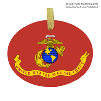 Ornament: Likeness of the Marine Corps Flag (glass)