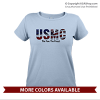 _T-Shirt (Ladies): USMC Stars-N-Stripes