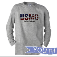 _Youth Long Sleeve Shirt: USMC Stars-N-Stripes