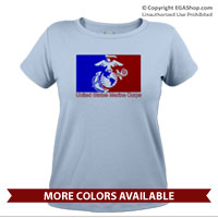 _T-Shirt (Ladies): Red/Blue EGA