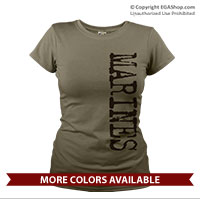 _T-Shirt (Ladies): Grunge Marines Sideways
