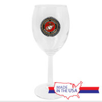 Wine Glass, Pewter: Marine Corps Seal