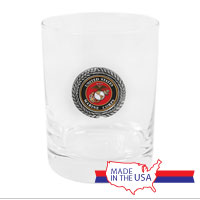 Double Old-Fashioned Glass, Pewter: USMC Seal