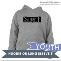 _Youth Hoodie or Long Sleeve Shirt: Semper Fi (black)