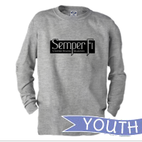 _Youth Long Sleeve Shirt: Semper Fi (black)