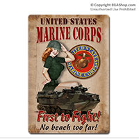 WWII Poster, First to Fight: Vintage Sign