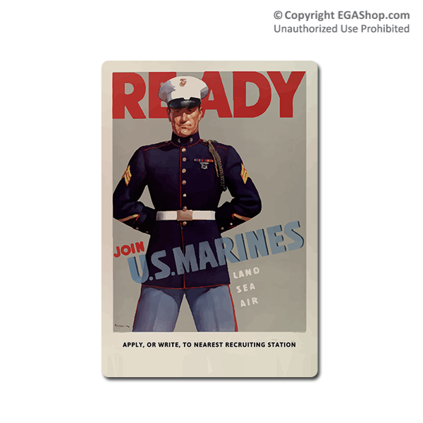 WWII Poster, Ready Marines: Vintage Sign