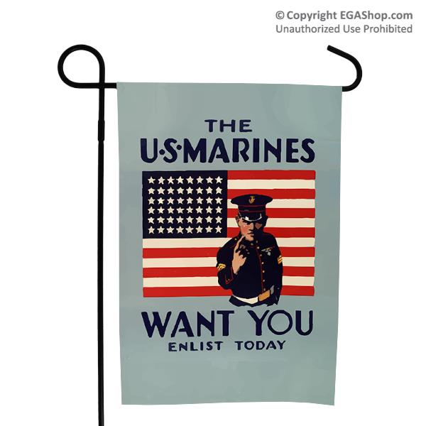 WWII Poster, The Marines Want You: Garden Flag