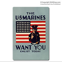 WWII Poster, The Marines Want You: Vintage Sign