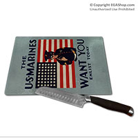 WWII Poster, The Marines Want You: Cutting Board