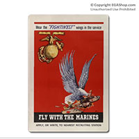 WWII Poster, Fly With Marines: Vintage Sign