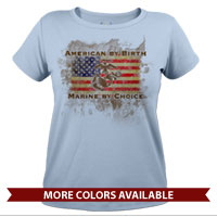 _T-Shirt (Ladies): American by Birth...