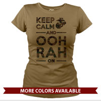 _T-Shirt (Ladies): KEEP CALM, OOH RAH on