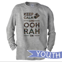 _Youth Long Sleeve Shirt: KEEP CALM, OOH RAH on