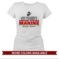 _T-Shirt (Ladies): I may look harmless... -red
