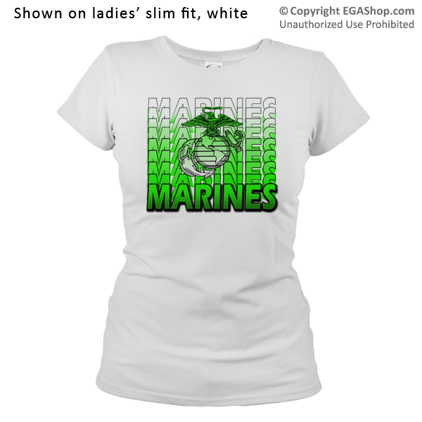 _T-Shirt (Ladies): Marines Repeating -lime green