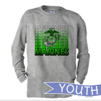 _Youth Long Sleeve Shirt: Marines Repeating -lime green