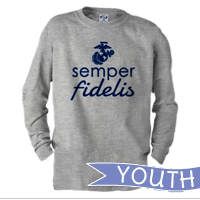 _Youth Long Sleeve Shirt: Semper Fidelis - EGA - Blue