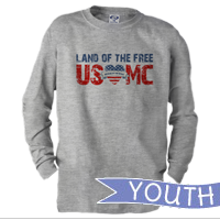 _Youth Long Sleeve Shirt: Land of the Free, USMC