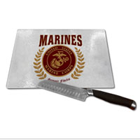 Cutting Board: Red Marines Seal (Glass)