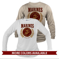 _Long Sleeve Shirt (Unisex): Red Marines Seal