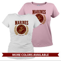 _T-Shirt (Ladies): Red Marines Seal
