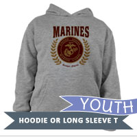 _Youth Hoodie or Long Sleeve Shirt: Red Marines Seal