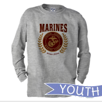 _Youth Long Sleeve Shirt: Red Marines Seal