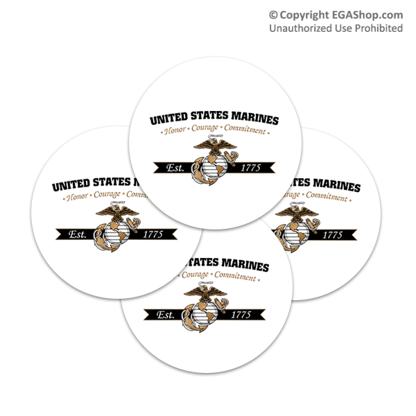 Coaster Set: Honor, Courage, Commitment - Gold (Sandstone or Rubber)