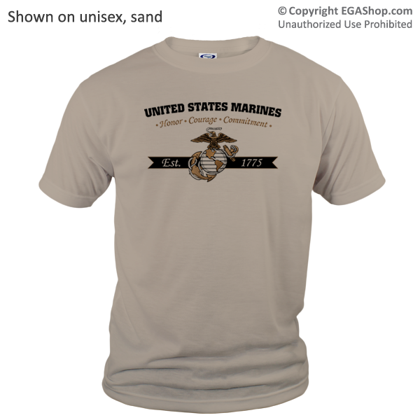 _T-Shirt (Unisex): Honor, Courage, Commitment - Gold