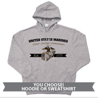 _Hoodie or Sweatshirt: Honor, Courage, Commitment - Gold