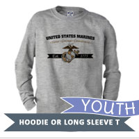 _Youth Hoodie or Long Sleeve Shirt: Honor, Courage, Commitment - Gold