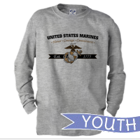 _Youth Long Sleeve Shirt: Honor, Courage, Commitment - Gold