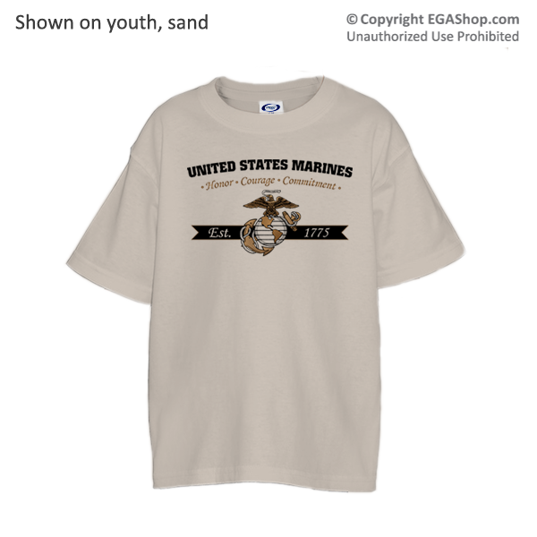 _T-Shirt (Youth): Honor, Courage, Commitment - Gold