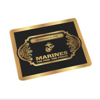 Cutting Board (15x19, glass): Black & Gold Marines