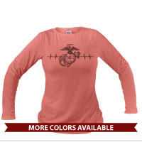 _Long Sleeve Shirt (Unisex): Heartbeat of a Marine Mom