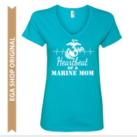 _Ladies V-Neck: Heartbeat of a Marine Mom (Original)