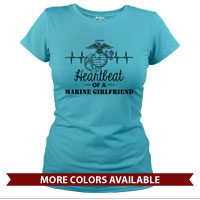 _T-Shirt (Ladies): Heartbeat of a Marine ___