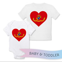 _T-Shirt/Onesie (Toddler/Baby): Marine Corps Flag Heart
