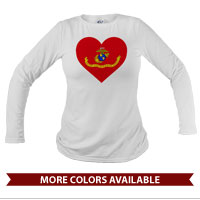 _Long Sleeve Shirt (Unisex): Marine Corps Flag Heart