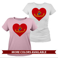 _T-Shirt (Ladies): Marine Corps Flag Heart
