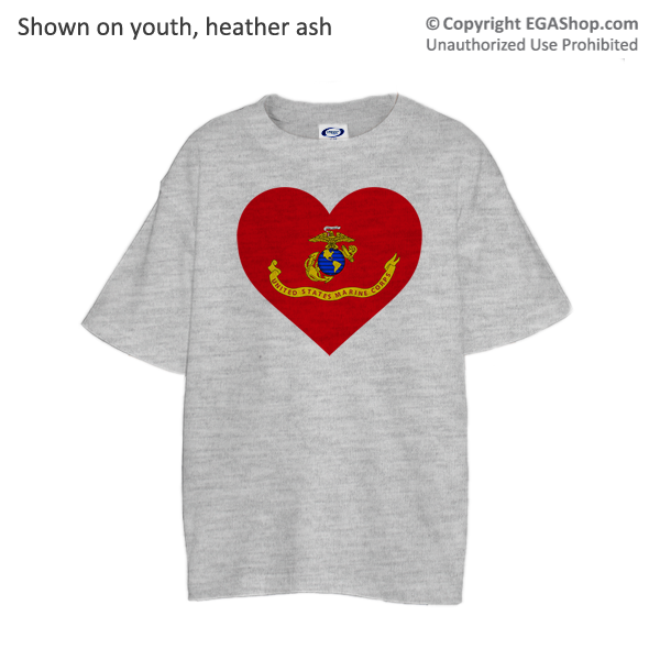 _T-Shirt (Youth): Marine Corps Flag Heart