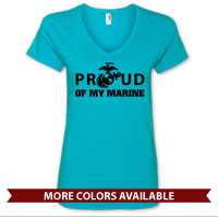 _Ladies V-Neck: Proud of My Marine