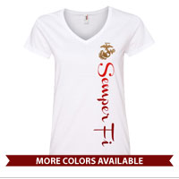_Ladies V-Neck: EGA with Semper Fi