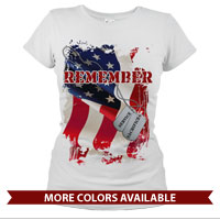 _T-Shirt (Ladies): Remember-Service & Sacrifice