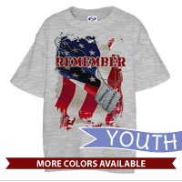 _T-Shirt (Youth): Remember-Service & Sacrifice